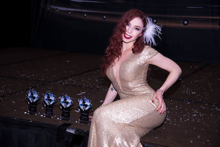 Multi Award Winning Fetish Actress and Filmmaker Ludella Hahn at 2017 Fetish Awards with Her Awards